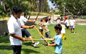 Campers learning Filipino Martial Arts from camp counselors at Upstander Anti bullying camp.