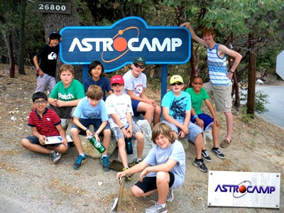 Campers hanging out with their camp counselor at AstroCamp