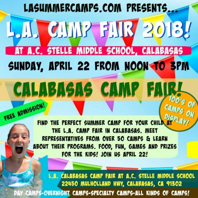 Colorful picture with a happy campers popping out of a swimming pool at summer camp and advertising the Calabasas L.A. Summer Camp Fair and Expo on Sunday, April 22 at A.C. Stelle Middle School in Calabasas.