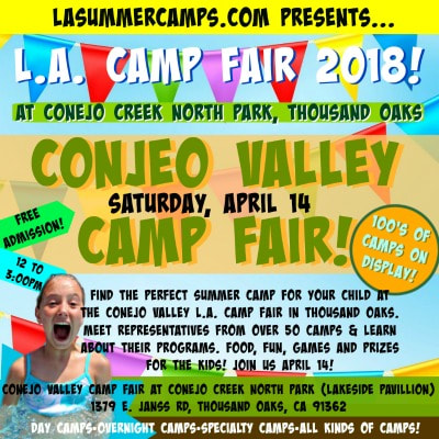 Happy camper swimming in a pool and smiling widely while promoting the L.A. Camp Fair in Thousand Oaks, Conejo Valley at Conejo Creek North Park on Saturday, April 14 from noon to 3 PM