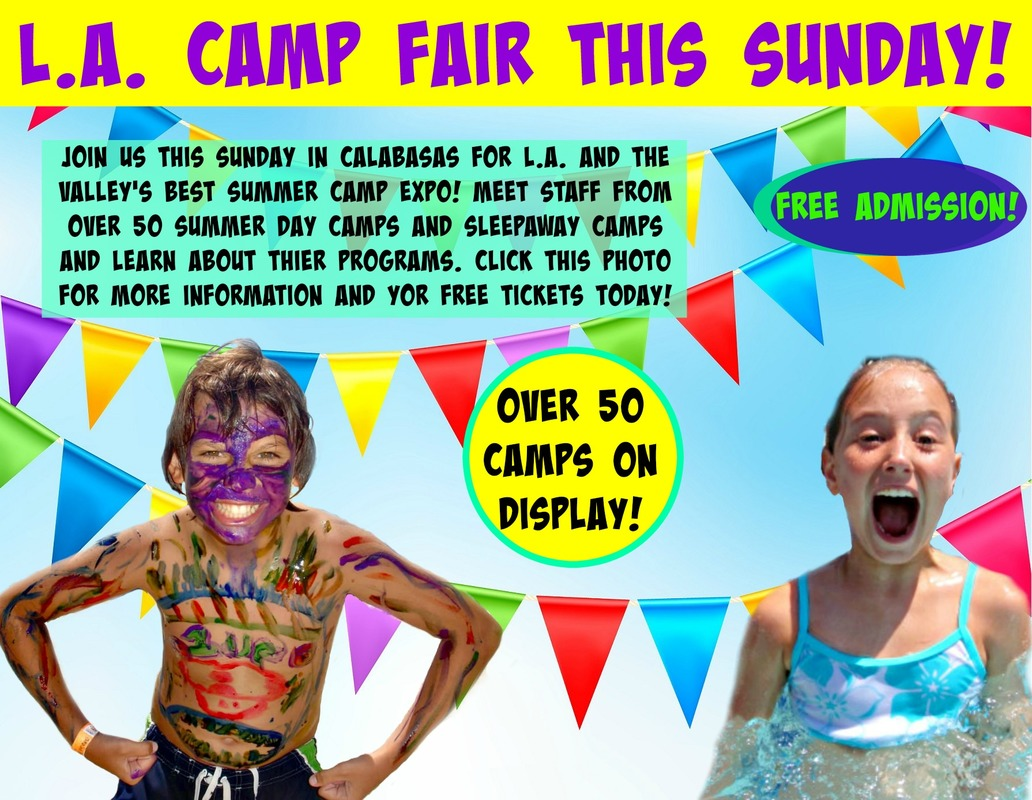 Boy with colorful face and body paint all over himself and girl smiling popping out of a swimming pool promoting the Los Angeles Summer Camp Fair and Expo Sunday, April 22 in Calabasas.