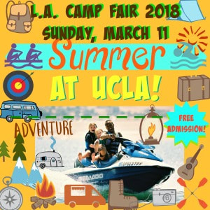 Campers and camp counselor riding a jet ski on the lake at at summer camp while highlighting the L.A. Camp Fair at UCLA on Sunday, March 11, 2018.
