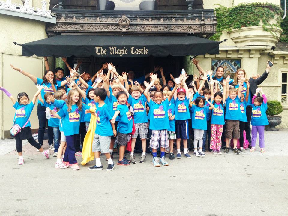 STAR Summer Camp kids and counselors standing in front of the Magic Castle in Los Angeles.