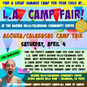 Colorful picture promoting L.A. Camp Fair 2020 on Saturday, April 4, from 12pm to 3pm at the Agoura Hills/Calabasas Community Center