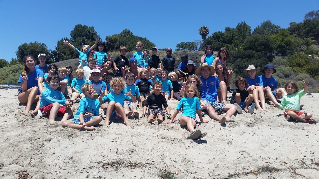 Campers and staff at Aloha Beach Camp at Paradise Cove, Malibu