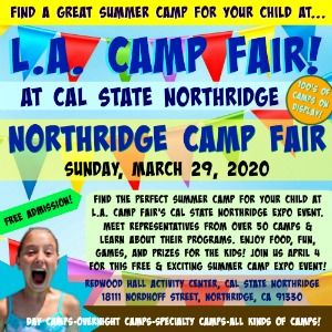 Colorful picture promoting L.A. Camp Fair's 2020 summer camp expo taking place Sunday, March 29 from 12pm to 3pm the Redwood Hall Activity Center at Cal State Northridge.