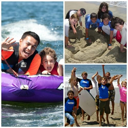 Picture collage of camper enjoying Aloha Beach Camp including boys and girls jumping on the sand, building sandcastles, and tubing at Castaic Lake.