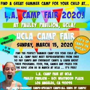 Colorful picture promoting L.A. Camp Fair's 2020 Summer Camp Expo event taking place from noon to 3pm on Sunday, March 15 at Pauley Pavilion, UCLA.