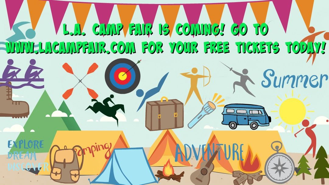 Banner photo with dozens of camp activities indicating L.A. Camp Fair 2018 is the best place to find the best camp for your kids this summer