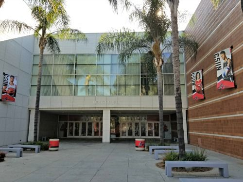 Entrance to Redwood Hall's east lobby at Cal State Northridge.
