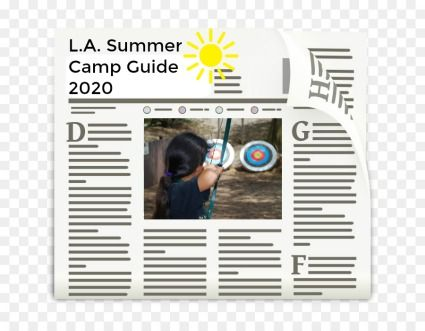 Newspaper graphic highlighting the official Los Angeles summer camp guide to the best camps, coming in January 2020 exclusively for lasummercamps.com visitors.
