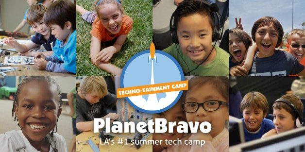 Campers having fun doing various camp activities at Planet Bravo Summer Tech Camp in Los Angeles