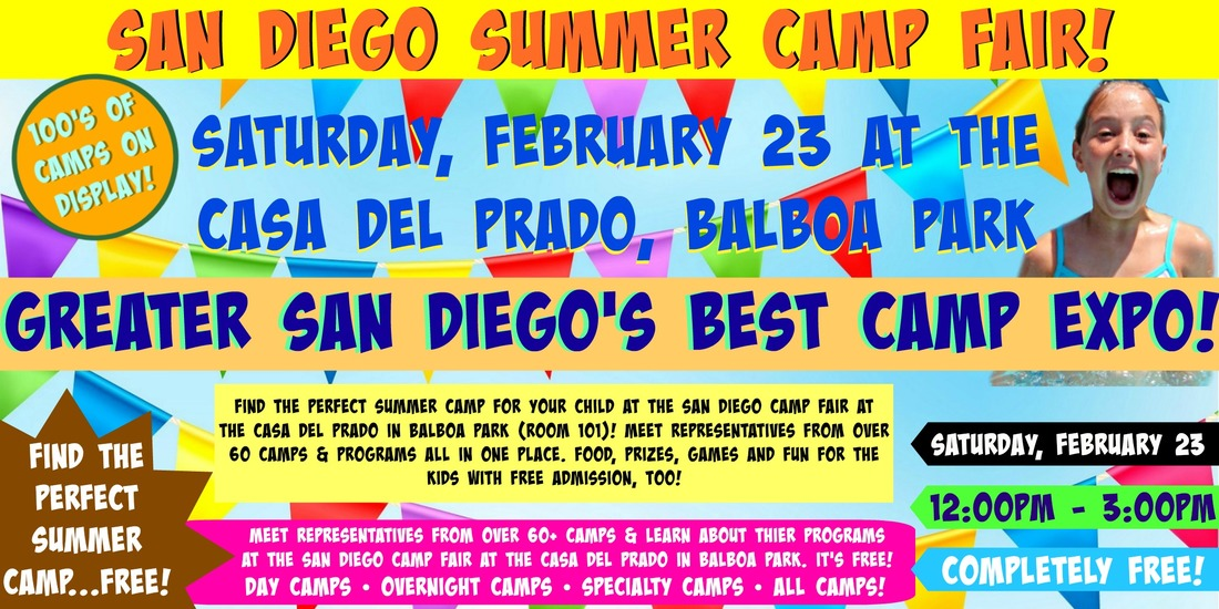 Colorful banner-sized promotinal image advertising the Feb. 23, 2019 San Diego Camp Fair at Balboa Park.