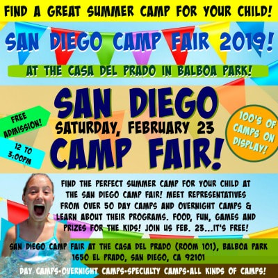 Square picture with a happy camper and other colorful images and text promoting the Feb. 23 summer camp fair in San Diego..