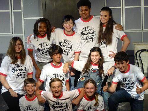 Campers on stage at Second City Summer Camps in Hollywood, CA