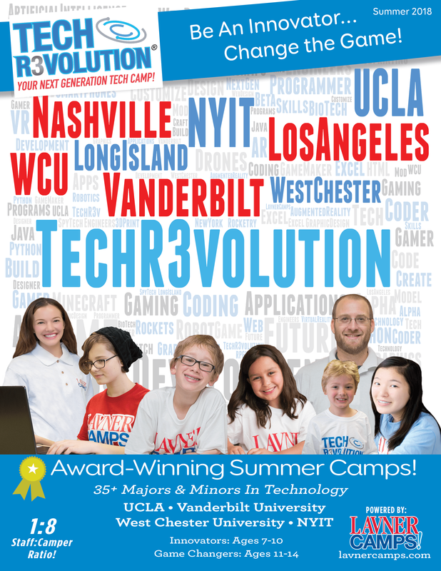Red, white and blue poster-style promotional flyer with 6 campers and their counselor promoting Tech Revolution Summer Camp at UCLA