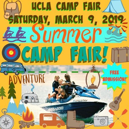 Brown and yellow picture with campers and their camp counselor jet skiing surronded by additional summer camp graphics such as archery, coneing, a backpack, a compass, camp buses and vans and more highlighting L.A. Camp Fair 2019 at UCLA on Sunday, March 9, 2019